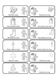 English Worksheet: This, That, These and Those Christmas Matching Cards  (24 Cards in all)