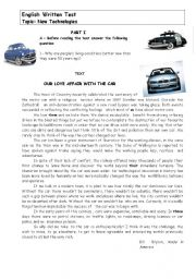 English Worksheet: New Technologies - the car