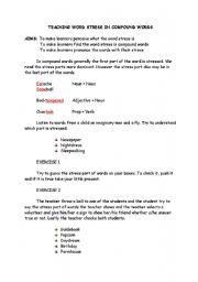 English Worksheet: teaching word stress in compund words