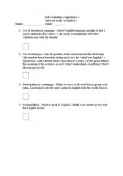 English Worksheet: competency one self-evaluation