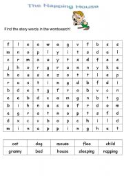 Home > animals worksheets > The napping House wordsearch