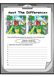 English Worksheets: spot the differences 2