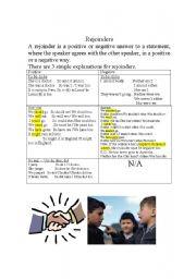 English Worksheets: Rejoinders