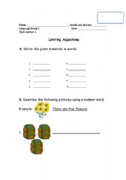 Worksheets On Limiting And Descriptive Adjectives For Grade 3 ...