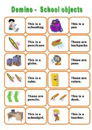 English Worksheet: School Objects Domino - 3 pages