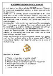 English Worksheets: At a Hindu Mandir