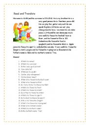 English Worksheets: READING AND ANSWER THE QUESTIONS/TO BE/CAN/LIKES
