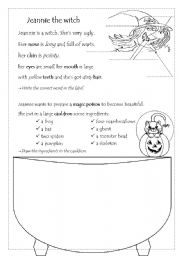 English Worksheets: Jeannie the witch - part one