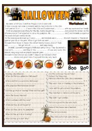 English Worksheet: Halloween  Reading ( focus on past simple tense) including worksheets A and B