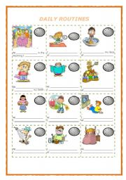 English Worksheets: DAILY ROUTINES AND HOURS