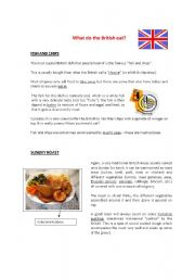 English Worksheet: WHAT DO THE BRITISH EAT? TYPICAL EXPRESSIONS AND MEALS
