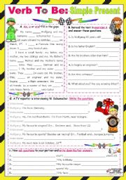 English Worksheet: Verb To Be  -  Simple Present  (all forms)