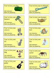 English Worksheet: GAME : I�ve lost something ( 24 cards )