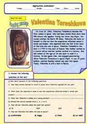 English Worksheets: Valentina  Tershkova