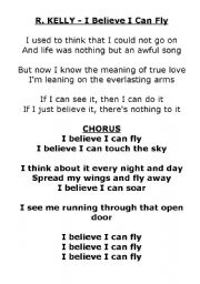 i believe i can fly strips of paper esl worksheet by