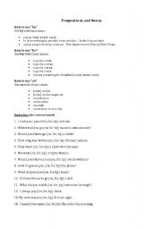 English Worksheets: Prepositions and Nouns