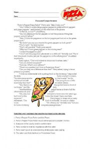 English Worksheet: Pizza and Comprehension