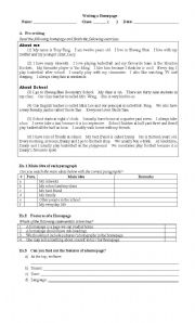 English Worksheets: Homepage writing