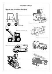 Land Transport - ESL worksheet by whitelilix