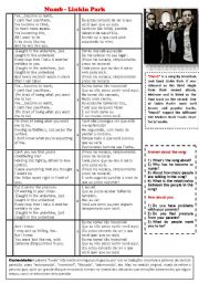 English Worksheet: Song Numb LinKin Park