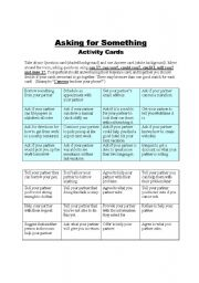 English Worksheets: Asking for Something activity cards