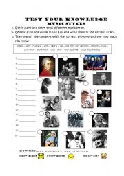 English Worksheet: Test your knowledge on Music Styles