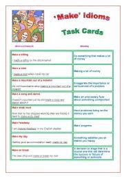 ´Make´ Idioms : Task Cards