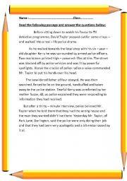 English Worksheet: reading comprehension