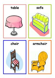 furniture flashcards