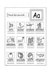 words that start with Aa - ESL worksheet by sesame teacher