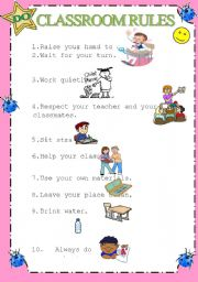 English Worksheet: Classroom rules with pictures- What they can do in classroom- 1/2