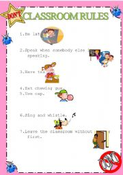 English Worksheet: Classroom rules with pictures- What they can�t do in classroom 2/2