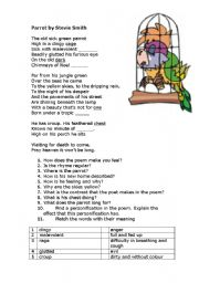 English Worksheet: Poem Parrot by Stevie Smith