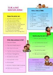 English Worksheets: TO BE in past and QUESTION WORDS