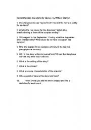 English Worksheets: Barney by William Stanton Comprehension Questions