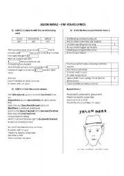 English Worksheets: Jason Mraz. I�m Yours - Song worksheet