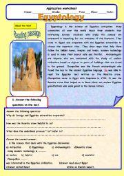 English Worksheets: EGYPTOLOGY