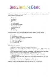 English Worksheets: Movie work: Beaty and the Beast
