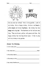 English Worksheet: Christmas or thanks giving turkey reading comprehension