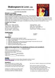 Shakespeare in Love (movie worksheet)