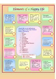 English Worksheets: Elements of a happy life