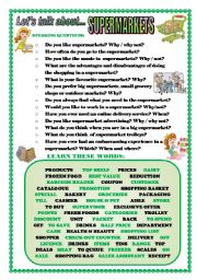 English Worksheet: LET�S TALK ABOUT SUPERMARKETS (SPEAKING SERIES 85)