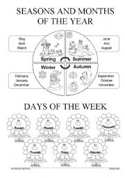 English Worksheet: Seasons/Months/Days