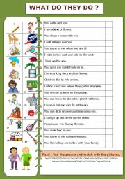 English Worksheets: WHAT DO THEY DO?