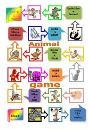 English Worksheets: animals board game