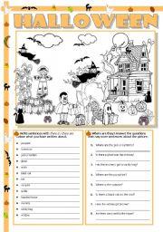 English worksheet: Halloween scene