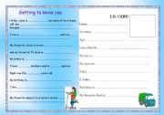 English worksheet: Getting to know you!