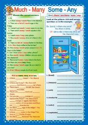 English Worksheet: much-many some-any