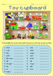 Toy cupboard - Matching / Unscrambling words
