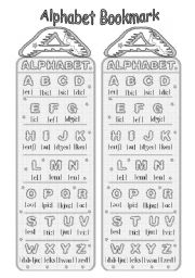 English Worksheets: Alphabet with transcription Bookmark